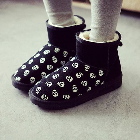 Skull Head Print Winter Snow Boot Thick Sole Padded Shoes