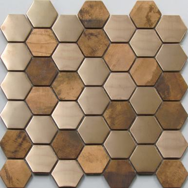 Hexagonal copper and stainless steel mosaic tiles.