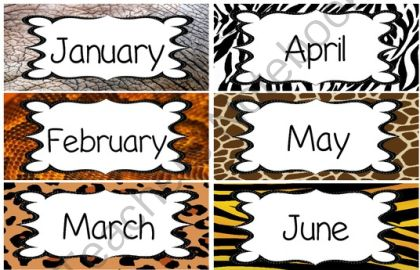 Jungle / Safari Theme Calendar BUNDLE (numbers, months, days of the week) from KinderKuties on TeachersNotebook.com (13 pages)  - This is a Calendar bundle with animal print borders that includes:    - Calendar Numbers 1-31  - 12 Months of the Year  - 7 Days of the Week  - Yesterday was:, Tomorrow is:, and Today is: signs  - 2013 and 2014 signs