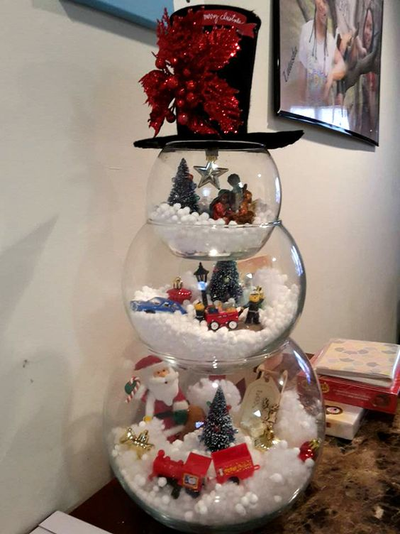 Make a fish bowl snowman decoration for Christmas! Use 3 different sized fish bowls and make a Christmas scene in each one with cotton balls or small white pom poms for snow. Add Santa Claus figurines, little trees, bells, or a nativity scene. Then add a top hat and a scarf! What a great idea from Loretta …