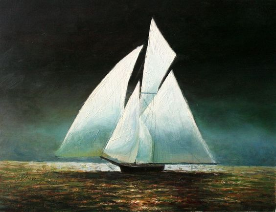 Real Handmade Boat Sailing in the Night Oil Painting