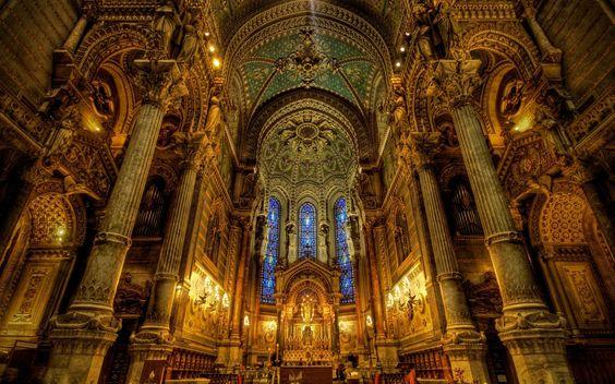 Breathtaking design and lighting of Basilica of Notre-Dame de Fourviere (Basilique de Fourviere), Lyon, France