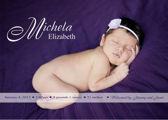 The Michela . DIY Printable Birth announcement featuring one photo of your newborn baby girl with name and stats customized to your photo!!