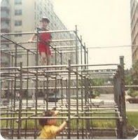We had to climb these metal monkey bars over concrete, not woodchips. We were tougher back then!