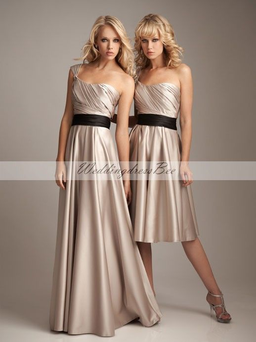 One shoulder A-line with ruffle embellishment satin bridesmaid dress