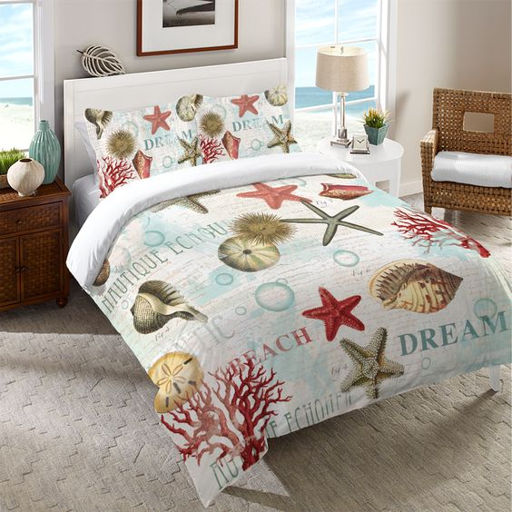Finely drawn shells and coral are scattered among bubbles to create this stylish coastal pattern. All of our products are digitally printed to create crisp, vibrant colors and images. Made to order in
