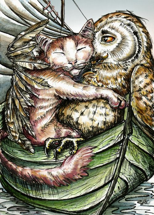 The Owl and the Pussycat from Edward Lear's poem (illustrator unknown) via tumblr.: