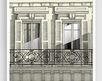 Parijs illustratie Shadows Art Print Poster Paris door tubidu