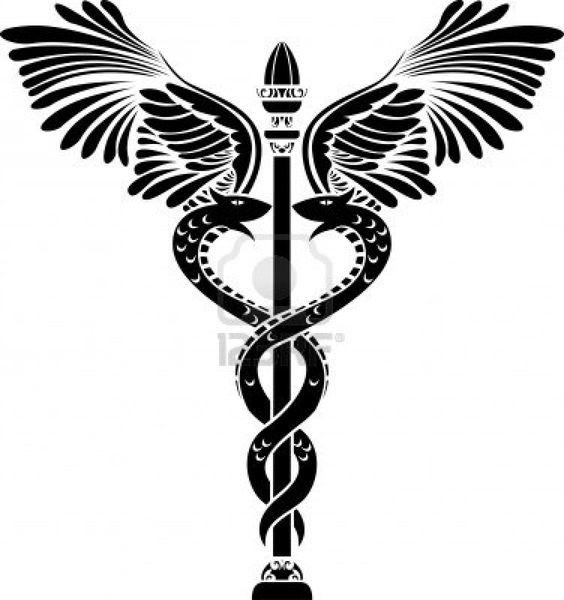 medical symbol caduceus silhouette stock photo 9179993