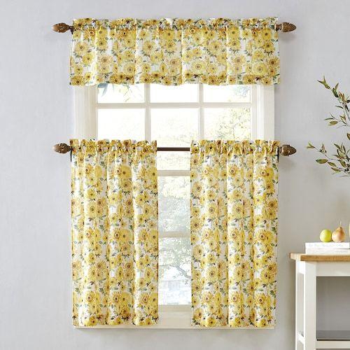 Sunflower Kitchen Curtains Efistu Com In 2020 Kitchen Window Curtains Curtains Pair Kitchen Window