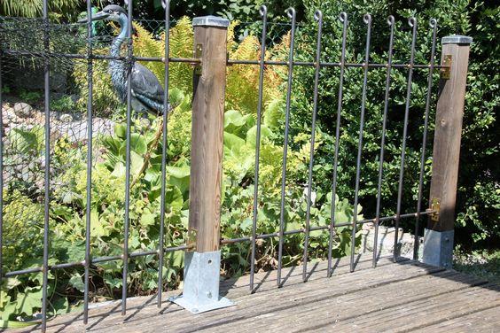 Die Montage war sehr einfach. Anbei erhalten Sie ein paar Fotos. Die Zaunelemente wurden so verbaut. dass man sie jederzeit aushängen kann.  Gartenzaun anneau-80-roh Informationen und Preise unter www.teichzaun.de