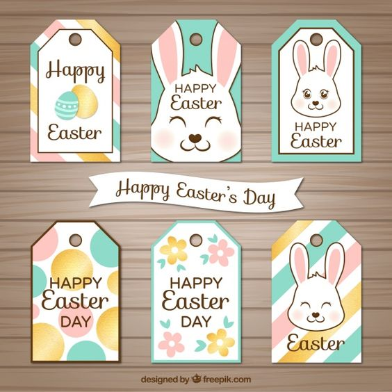 Collection of easter labels Free Vector