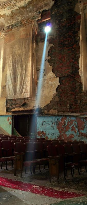 Sunlight streams through a broken window in an old vaudeville theatre ~ Laurin Jeffrey, Toronto, Ontario, Canada