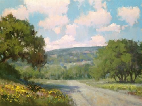 """Daily Paintworks - """"Ranch Road near Johnson City"""" by David Forks"""