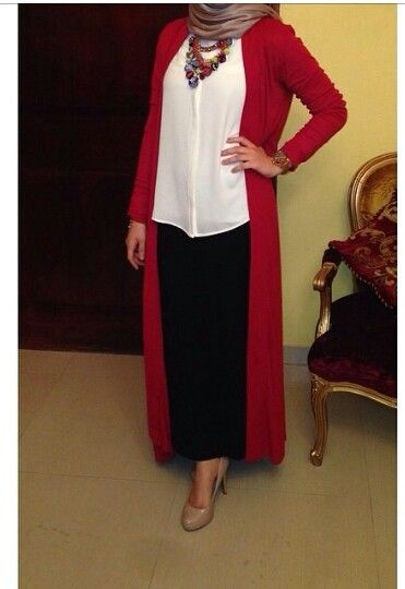 Hijabs Long cardigan and Black white red on Pinterest