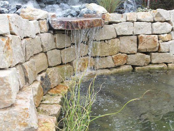 Garten - Wasserfall Trockenmauer Naturstein Gartenideen - garten steinmauer wasserfall