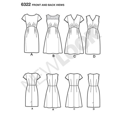 New Look Pattern 6322 Misses' Dress with Bodice and Skirt Variations: