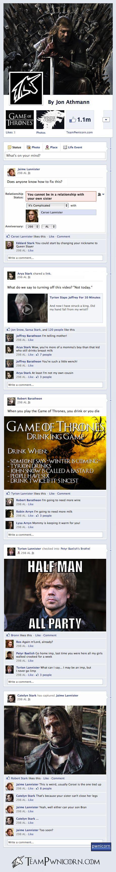 Et si les personnages de Game of Thrones étaient un Facebook ?