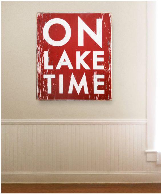Large Oversized ON LAKE TIME 30 X 34 rustic by GoJumpInTheLake, $125.00