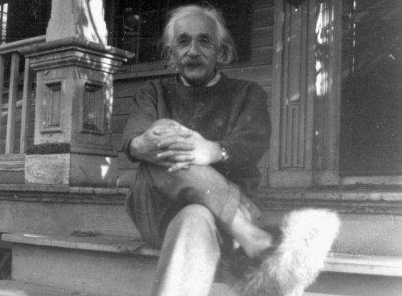 albert einstein in his fuzzy slippers