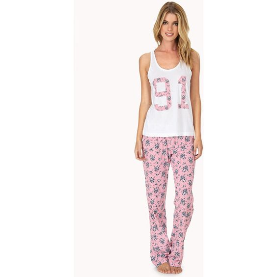 Forever 21 Women's  Flower Power PJ Set ($18) ❤ liked on Polyvore featuring intimates, sleepwear, pajamas, forever 21 pajamas, forever 21, forever 21 pjs and forever 21 sleepwear