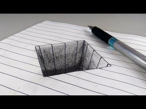 How To Draw 3d Square Hole In Paper Step By Step For Kids Easy Trick Art Anamorphic Illusion Drawing Youtub 3d Drawings Illusion Drawings 3d Drawing Tutorial
