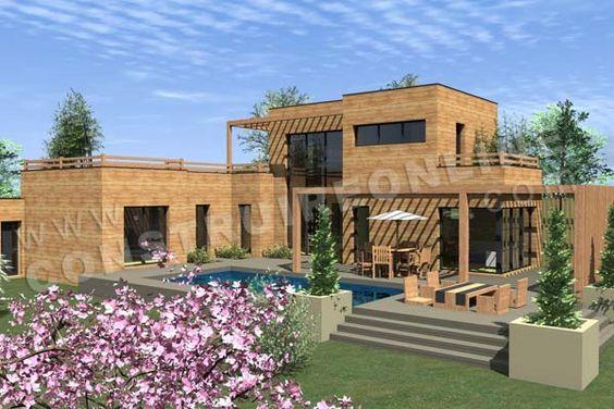 Plan de maison bois etage contemporaine INFINITY vue piscine house - Plan Maison En Bois Gratuit