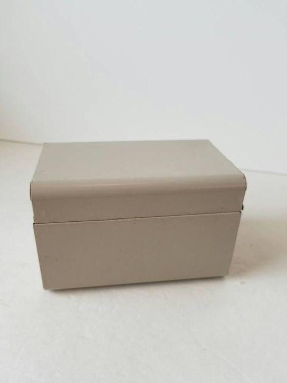 Vintage Metal Box Address File Dividers Recipe Index Card Holder Organization…