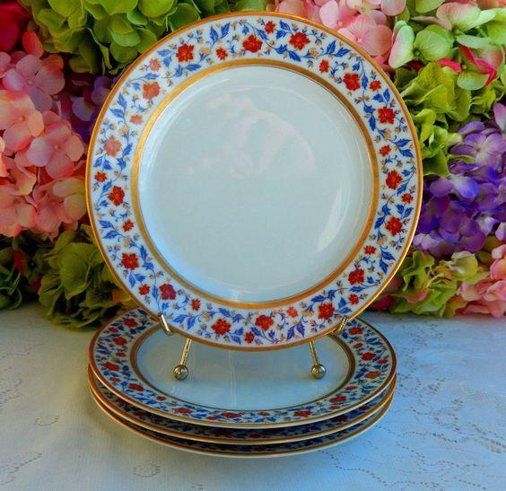 4 Beautiful Vintage Heinrich ~ Cartier Porcelain China Salad Plates Floral Gold #HeinrichCartier