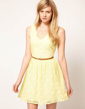 Asos yellow lace skater dress