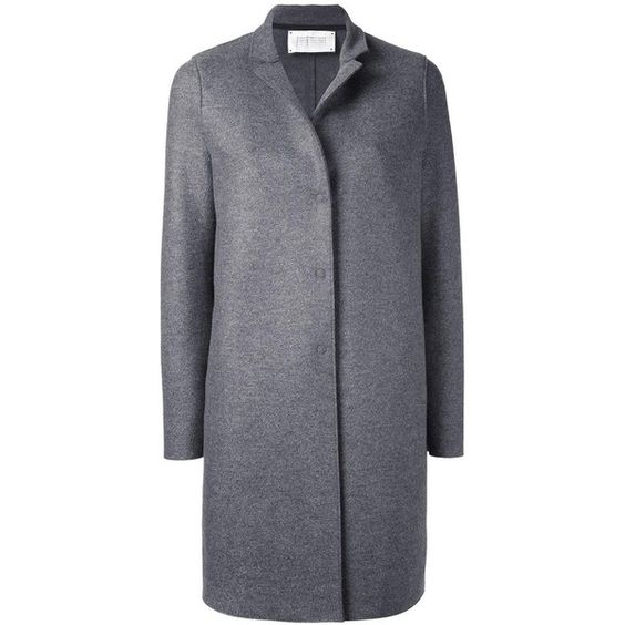 Harris Wharf London 'Cocoon' coat featuring polyvore, women's fashion, clothing, outerwear, coats, grey, gray coat, grey cocoon coat, gray cocoon coat, grey coat and cocoon coat