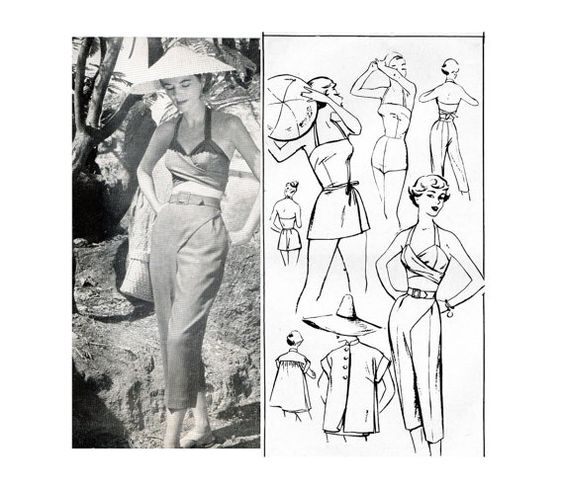 1950s Wrap On Play Clothes Pattern Womens by PrettyPatternShop