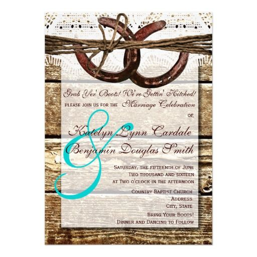 Getting Hitched Wood Horseshoes Wedding Invitations with teal accent