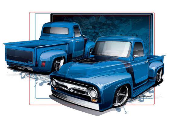 Radical renderings 1954 ford f100 truckin 39 magazine for Garage ford denney 90