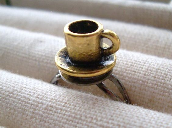 Coffee Mug Cup Ring, Antiqued Gold by TreasuredAdornment, #CoffeeMugRing, #GiftForFoodie, #CoffeeLover
