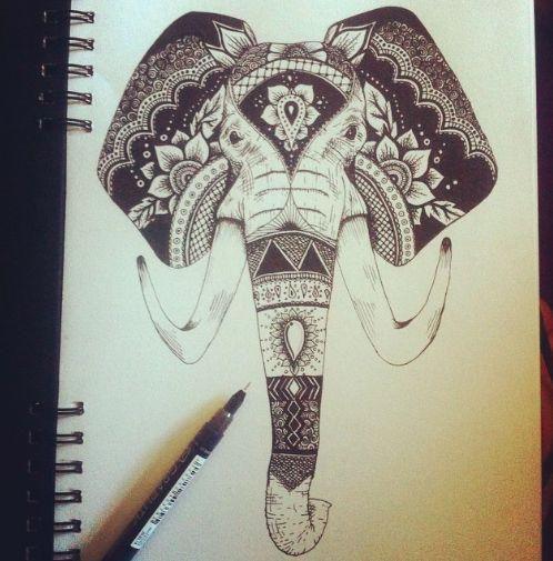 Decorative Indian Elephant Face inspired tattoo design ...