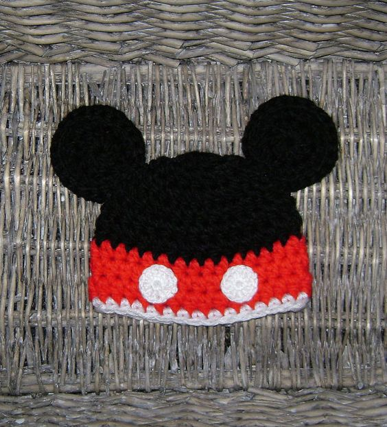 Crochet Mickey mouse hat  Baby boy hat  by TwoLittleAngelsEtsy