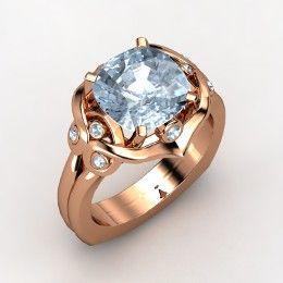 Carmen Ring, Cushion Aquamarine Rose Gold Ring from Gemvara