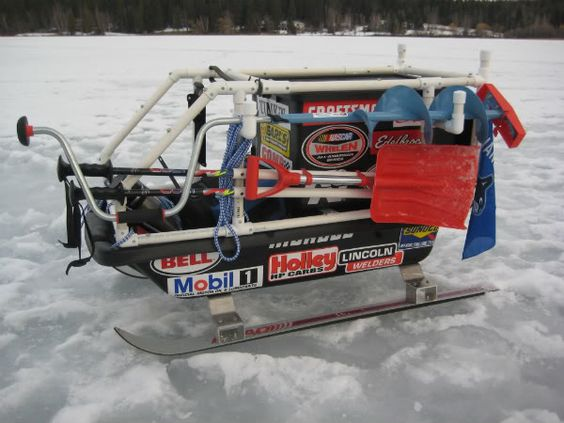 Ice fishing sled ice and google on pinterest for Ice fishing snowmobile