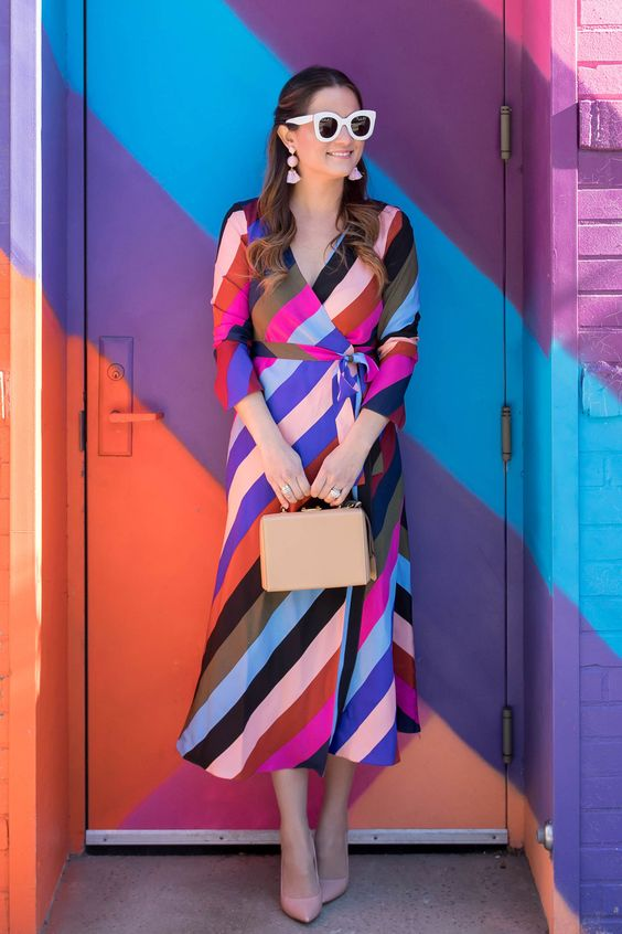 Multicolor Stripe Wrap Dress at a Colorful Stripe Mural in Brooklyn