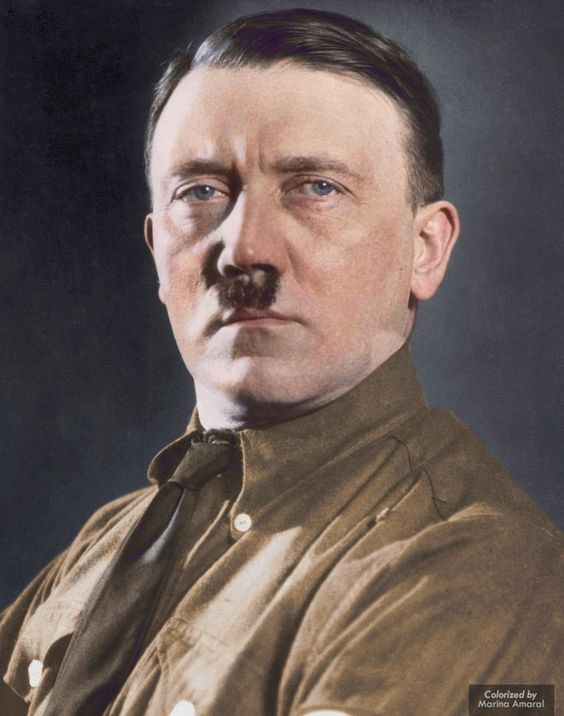 Nazi führer: Adolf Hitler's blue eyes are shown in this colourised version of one of his many portrait photos