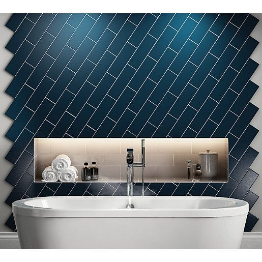 Wickes Twilight Dark Blue Ceramic Wall Tile 300 X 100mm Wickes Co Uk Blue Bathroom Tile Dark Blue Tile Bathroom Design Decor