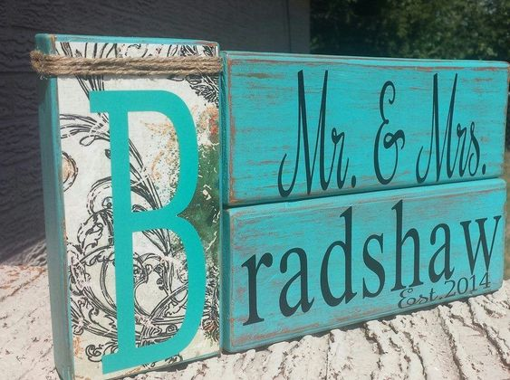 Wedding Gift, Personalized, Last Names, Mr and Mrs, Wood Blocks, Wedding Sign #Handmade #Wood