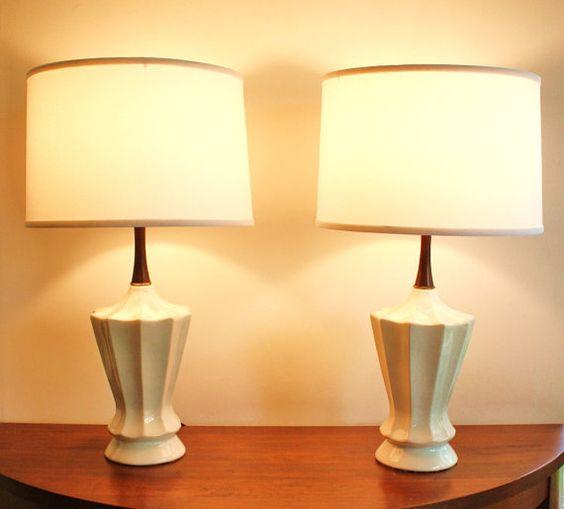 mid-century lamps #teak #midcentury