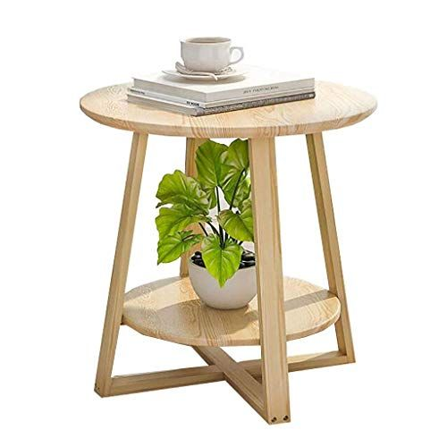 Xingkaiji End Tables Nordic Simple Coffee Table Solid Wood Round Small Side Table Bedroom Mini Be Bedside Table Decor Solid Wood Side Table Side Tables Bedroom