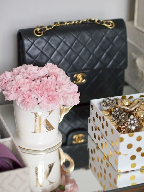 Flowers and chanel vanity: