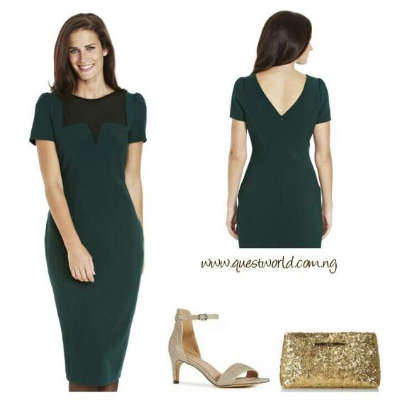 This beautiful green dress with a mesh neckline is best worn for a formal occasion and accessorized with this lovely shimmer Next kitten heels and clutch  Uniquely Beautiful #Dress #clutch #Shoes www.questworld.com.ng  We Deliver Nationwide(#2500) Delivery from 24hrs! Pay on Delivery within Lagos(#1000)