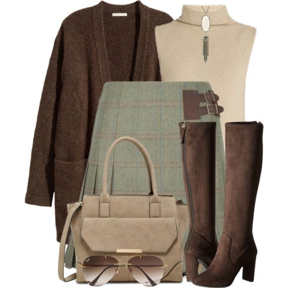 Tweed Skirt & Suede Boots, as long as this didn't hit below mid thigh I would adore this edgy classic! (Short girl fashion issue #1. the right length is critical).
