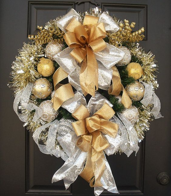 Gold and Silver Christmas Wreath, Front Door Wreath, Holiday Wreath, All That Glitters Christmas Decor, Gold and Silver Wreath  All That Glitters  Opulent silver & gold Christmas Wreath for your door or wall. Big shimmering bows, gorgeous ornaments, & mirror tinsel garland create so much excitement. This sparkles like crazy in the sun.  24 artificial pine wreath base. I have attached a wire hanger on the back of the wreath for easy hanging.  33 Tall (including ribbon tails) & 26 wide & 8…