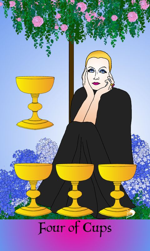 The 4 of Cups from The Golden Age of Hollywood Tarot